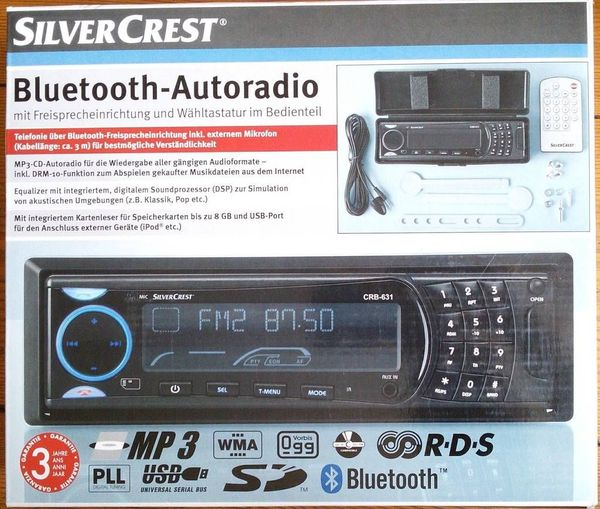 Autoradio m. CD, Bluetooth, USB, SD f. Audio im mp3, wma, ogg-Format