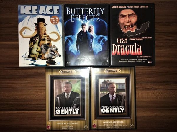 DVDs Ice Age, Butterfly Effect 2, Dracula, Inspector George Gently