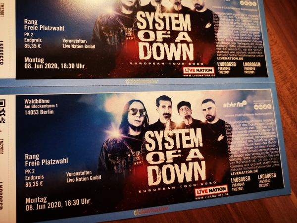 2x Tickets System of a Down (Rang) 08.06.20