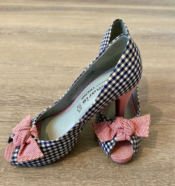 Pumps/Peeptoes von Tamaris blau/rot in Gr. 38