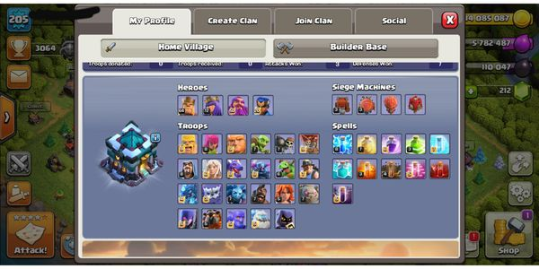 Clash of clans account. Th 13, lvl 205