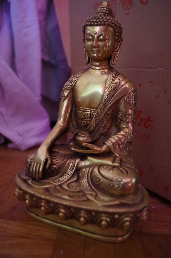 Buddha AMITHABA Bronze Messing Statue Gold Antik Asiatika Sign.