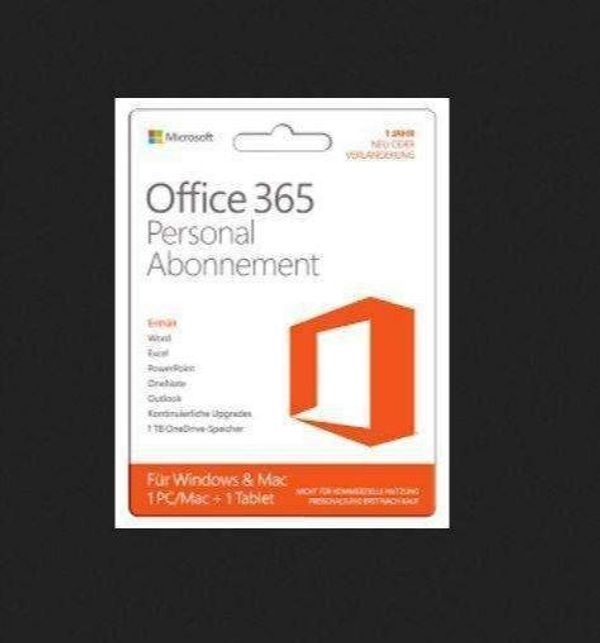 Microsoft Office 365 Personal * 1PC/1Jahr, Word, Excel, PowerPoint, Outlook, PKC2 * original versc