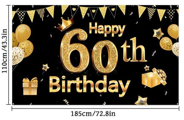 60 Happy Birthday Deko Geburtstag Set Tischdeko Serviette Plakat