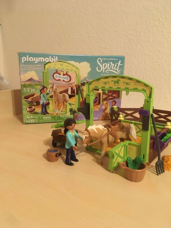 PLAYMOBIL DreamWorks Spirit 9479 Pferdebox Pru & Chica Linda
