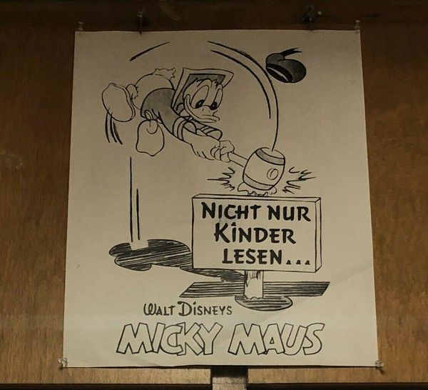 Micky Maus Orig. Plakat 60er Jahre mit Donald Duck - Vintage Mickey Mouse Poster